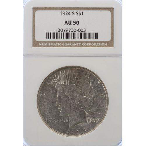 1924-S Peace Dollar AU-50 (NGC)