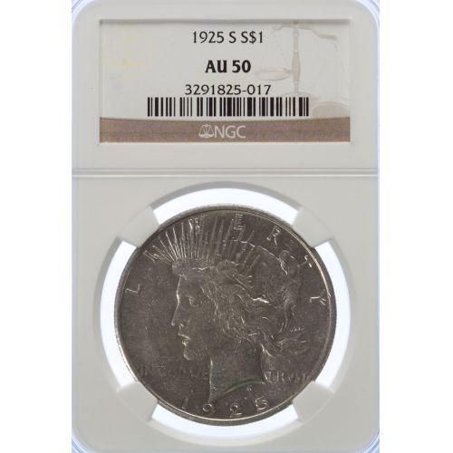 1925-S Peace Dollar AU-50 (NGC)