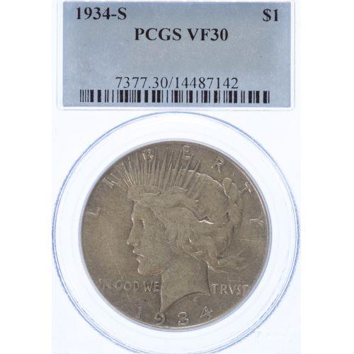 1934-S Peace Dollar VF-30 (PCGS)