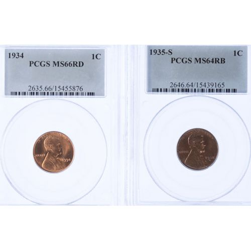 1934 MS-66 & 1935-S MS-64 Lincoln Cents (PCGS)