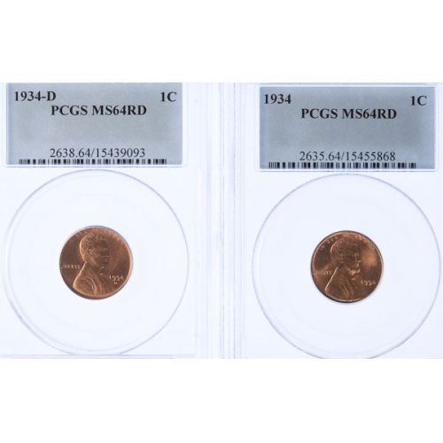 1934 MS-64 & 1934-D MS-64 Lincoln Cents (PCGS)