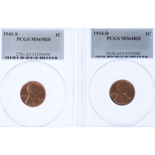1934-D MS-64 & 1941-S MS-65 Lincoln Cents (PCGS)
