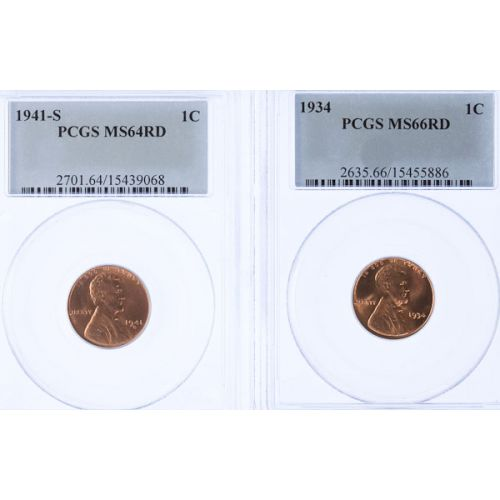 1934 MS-66 & 1941-S MS-64 Lincoln Cents (PCGS)