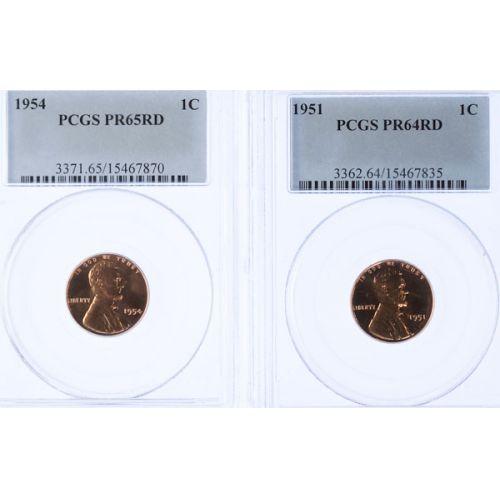 1951 PR-64 & 1954 PR-65 Lincoln Cents (PCGS)