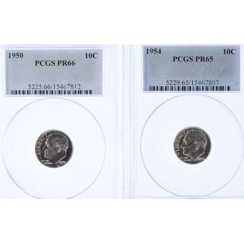 1950 PR-66 & 1954 PR-65 Roosevelt Dimes (PCGS)