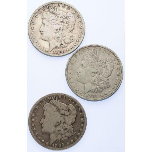 1892 Morgan Dollar Year Set (3pcs.)