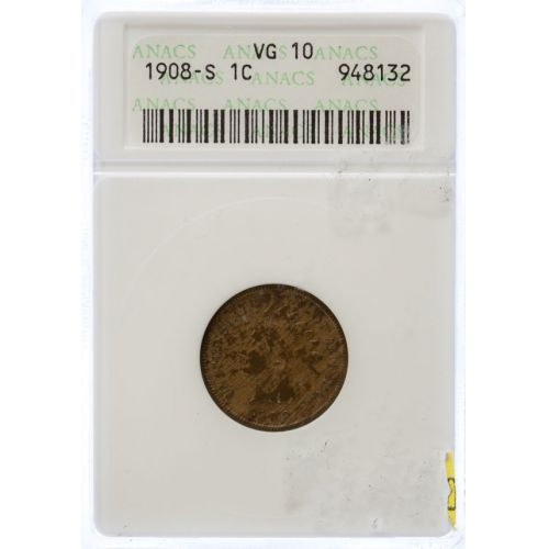 1908-S Indian Head Cent VG-10 (ANACS)
