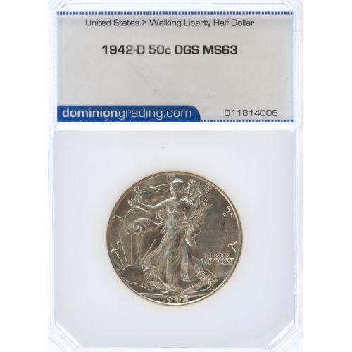 1942-D Walking Liberty Half Dollar MS-63 (DGS)