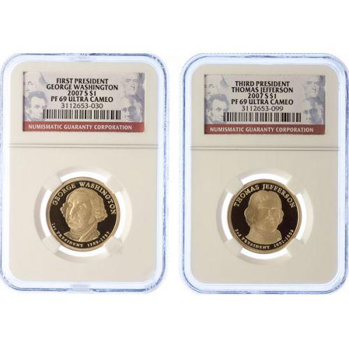 2007-S Washington, Jefferson, Adams & Madison Dollars PF-69 UCAM (NGC)
