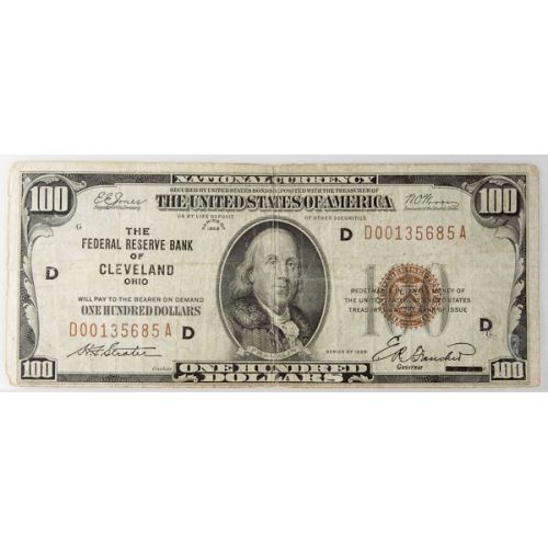 1929 $100 Federal Reserve Note (Cleveland)