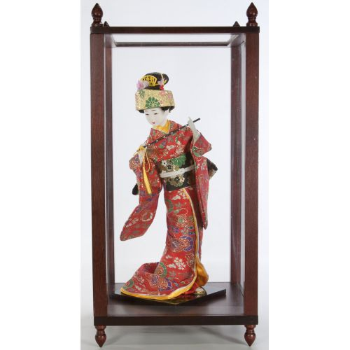 Geisha Doll in Wooden & Glass Display Case