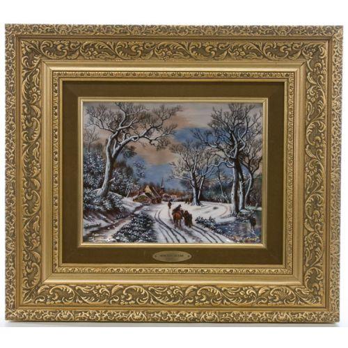 JP Loup Limoges Enameled Winter Scene