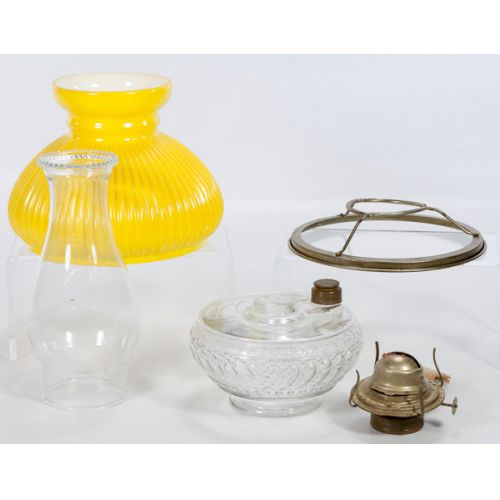 Clear Oil Lamp with Hurricane & Yellow Shade