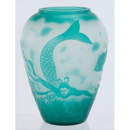 Aqua Cameo Glass Vase with Mermaid & Fish Design
