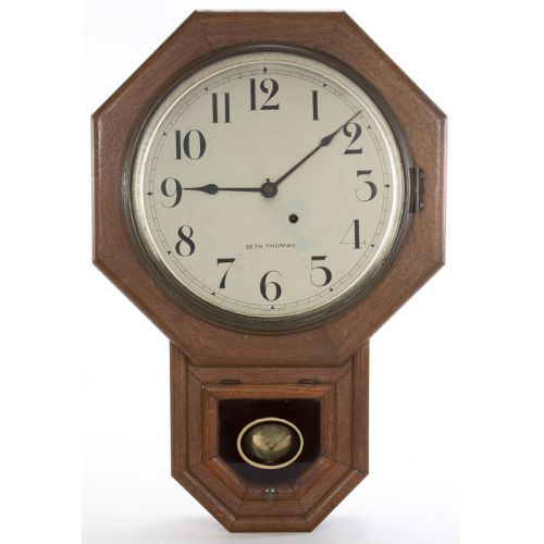 Seth Thomas School House Wall Clock with Pendulum & Keys