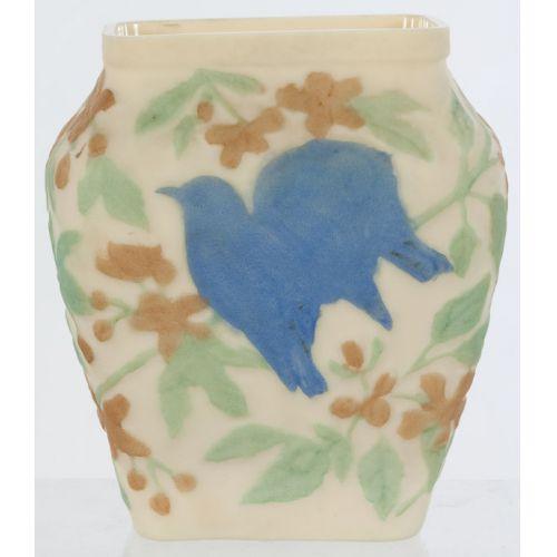 Phoenix Art Glass Vase with Blue Bird in Tree