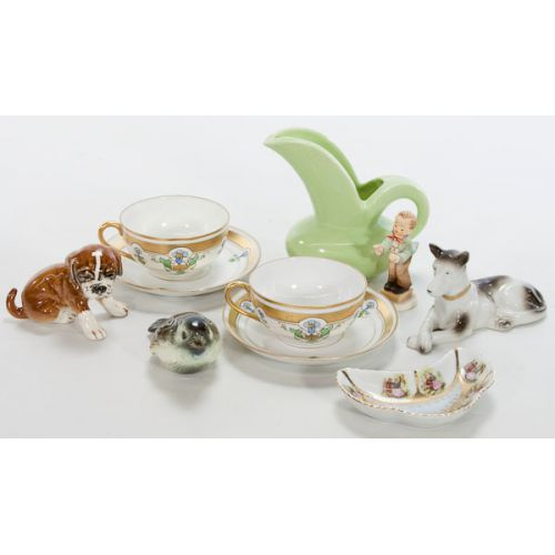 Collection of China Items Including Cups, Saucers, Figurines