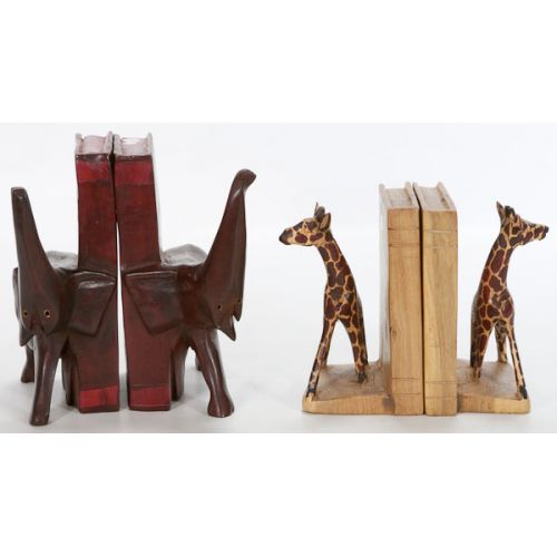 Two Sets of Carved Book Ends (4pcs) with Animals from Kenya
