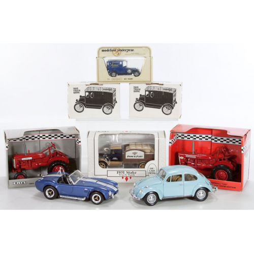 Group of Model Cars, Trucks, Tractor; some in original boxes
