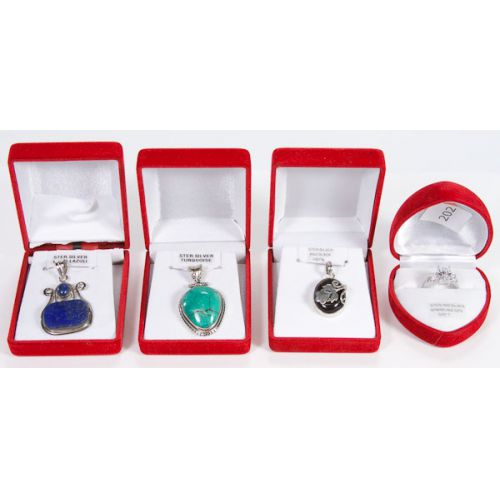 Sterling Jewelry Necklaces & Ring (4pcs) Lapis, Turq, Onyx, CZ
