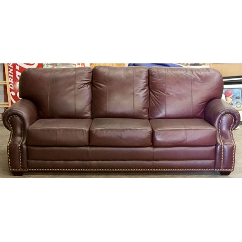 Leather Sofa - Deep Brown with Red