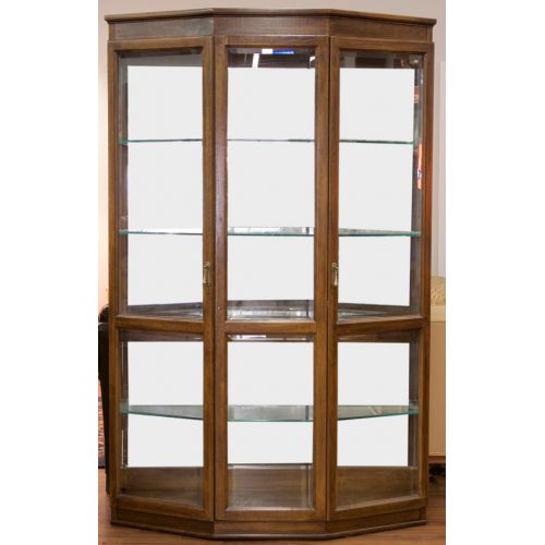 Walnut Lighted Display Cabinet