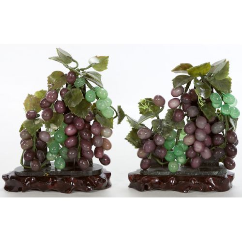 Carved Stone Grape Cluster Décor (2pcs) on wooden bases
