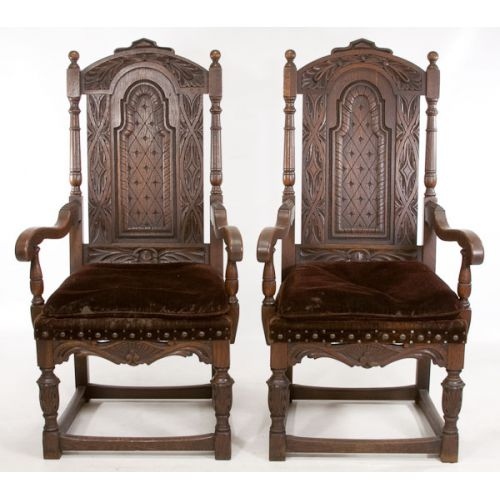 Throne Chairs in Brown Velvet Upholstery (2pcs)