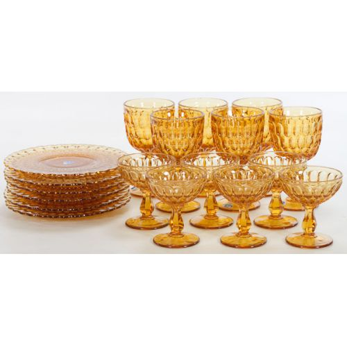 Fenton Amber Dishes & Stemware (18pcs)