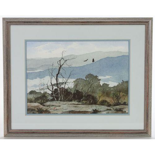 """Ken Schulz (American) """"Overlooking the Smokies"""" Watercolor"""