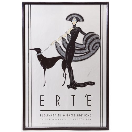 "Erte ""Symphony in Black"" Poster Lady & Dog on Silver Background"