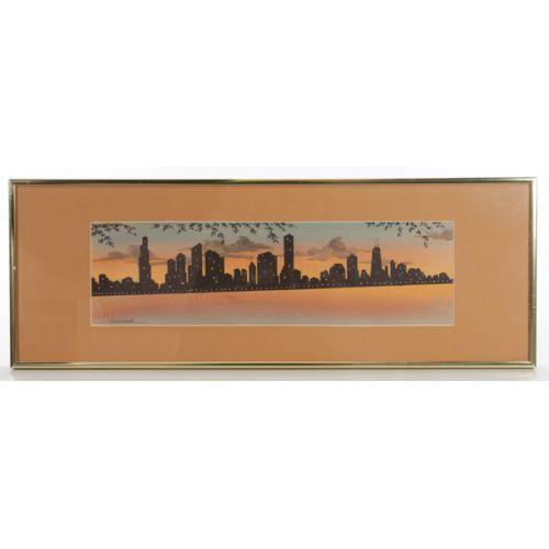 """L Ochsner Original Water Color of """"Chicago at Dusk"""" Skyline"""