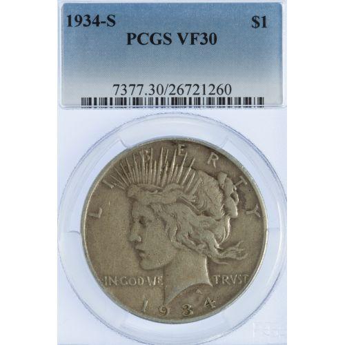 1934-S $1 VF-30 PCGS