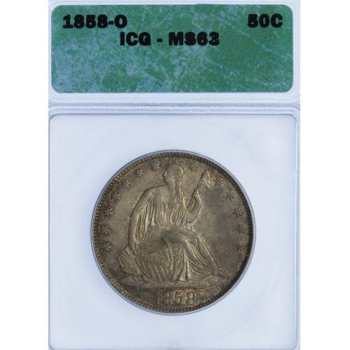 1858-O 50c MS-63 ICG