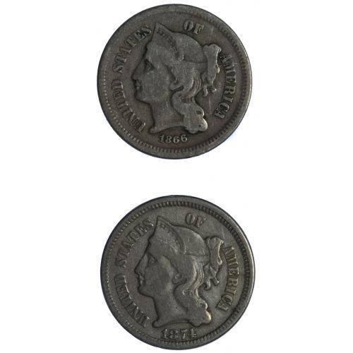 1866, 1874 3c G-F