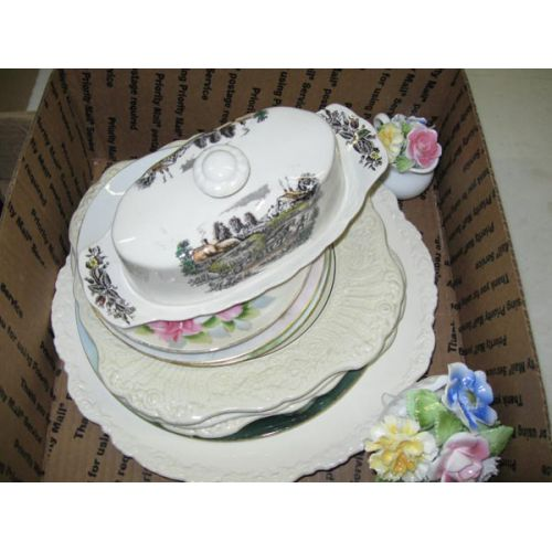 Hand Painted Plates and Covered Butter Dish