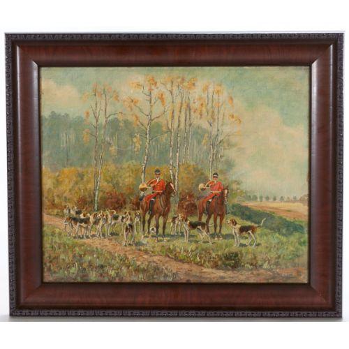 "M. Dagron (American) ""Fox Hunt"" Oil on Canvas"