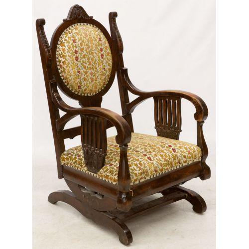 Mahogany Upholstered Platform Rocking Chair