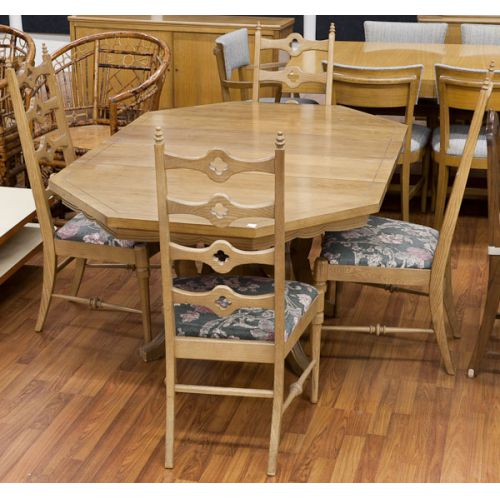 Fruitwood Dining Table with Four Chairs