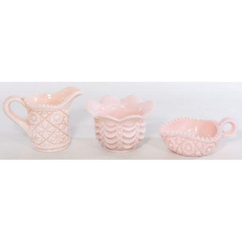 Duncan Pink Milk Glass Items (3) Pieces
