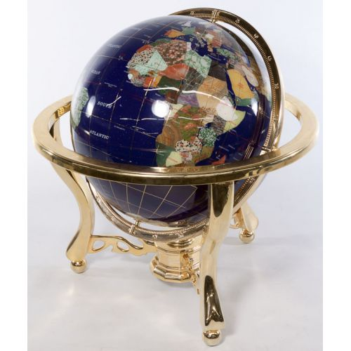 Enameled Globe with Mother of Pearl Inlay and Brass Frame