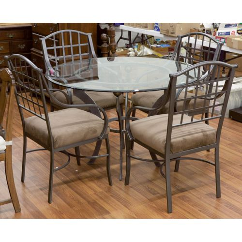 Wrought Iron and Glass Dining Table with Four Chairs