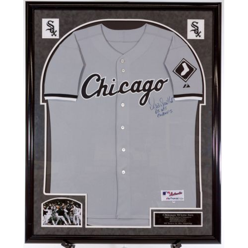 Custom Framed Signed 2005 World Champs by Ozzie Guillen Jersey