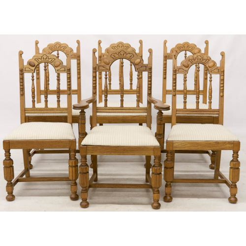 Set of Six Light Oak Dining Chairs with Light Upholstery