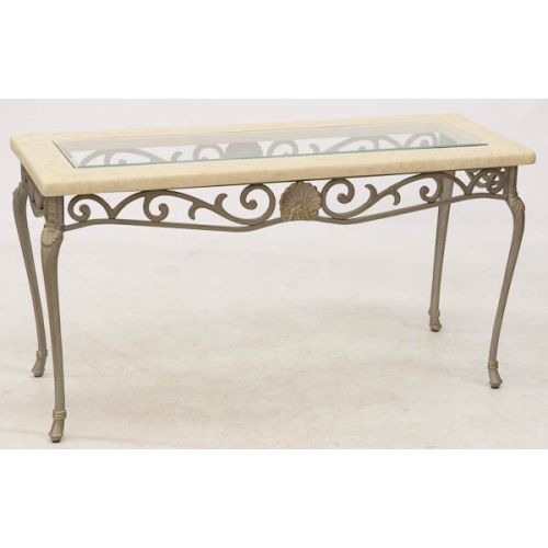 Hall Table with Metal Legs & Clear Glass Insert