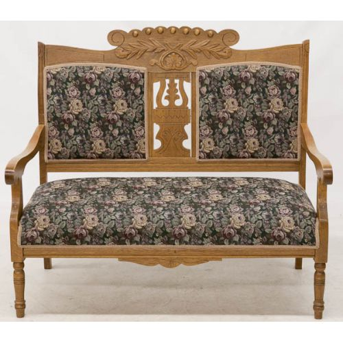 Light Oak Two-Seat Hall Bench with Floral Upholstery