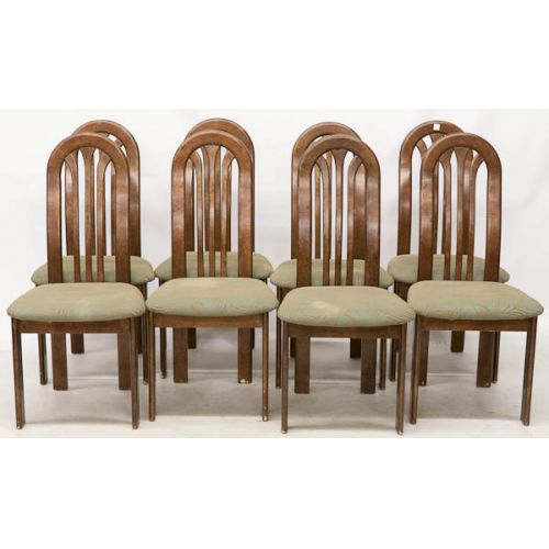 Tall Round Backed Chairs (8pcs) Wood with Green Upholstery