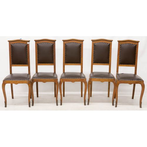 Wooden Chairs with Upholstered Backs & Seats (6pcs)
