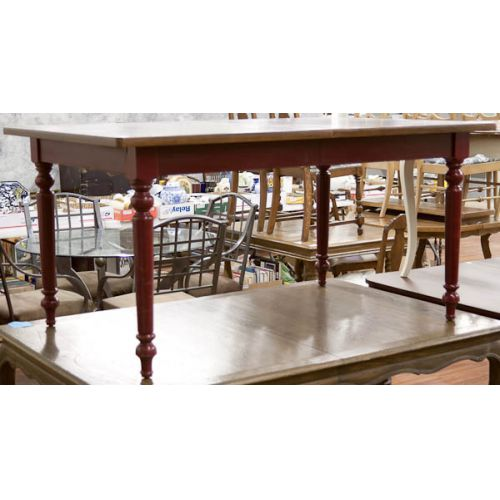 Wooden Table with Dark Red Painted Legs