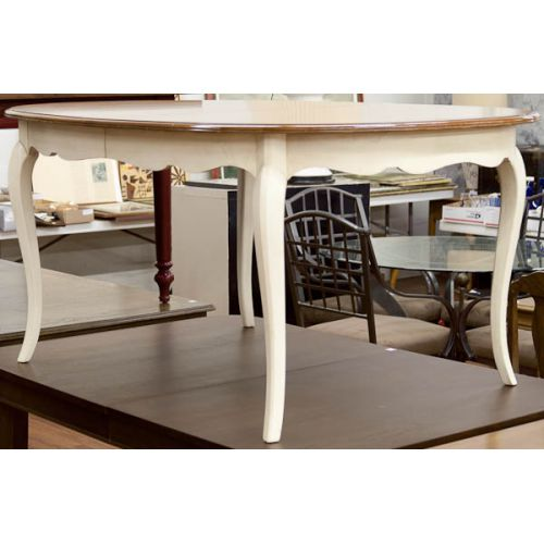 Wooden Table with Cream Painted Legs